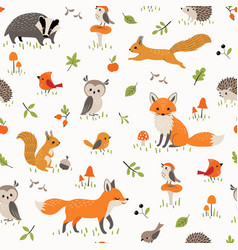 bapattern with cute little woodland animals vector image