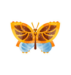 beautiful yellow brown and blue butterfly insect vector image