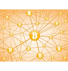 Bitcoin network yellow background vector image