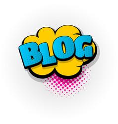 Blog blogger comic book text pop art vector