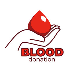 blood donation isolated icon human hand and blood vector image
