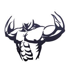 Bodybuilding man silhouette vector