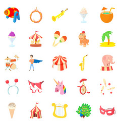 Carnival icons set cartoon style vector