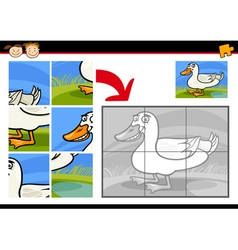 cartoon duck jigsaw puzzle game vector image
