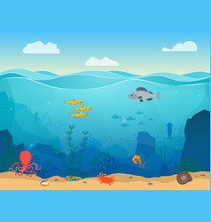 cartoon sea underwater scene color background vector image