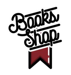 color vintage books shop emblem vector image