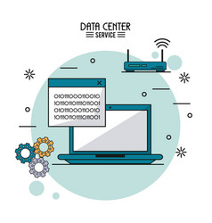 Colorful poster of data center service with laptop vector