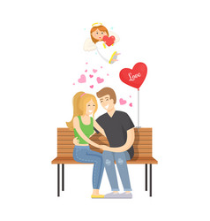 couple in love man and woman sitting on bench vector image