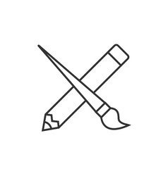 Crossed pencil with paint brush vector