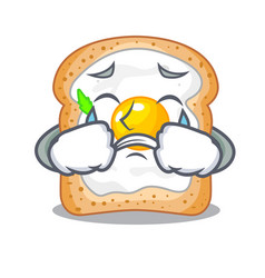 Crying sandwich with egg above character board vector