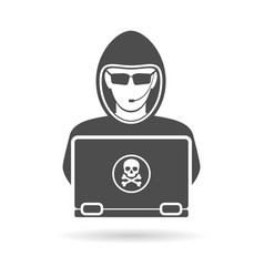 Cyber crime concept with logo hacker vector