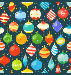 different christmas bauble and color confetti vector image