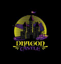 dragon castle logo design vector image