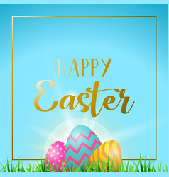Easter eggs greeting card with happy gold text vector