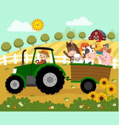 elderly farmer and farm animals on a tractor vector image
