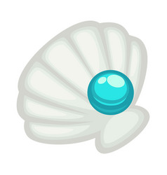 Exquisite shell with blue shine pearl isolated vector