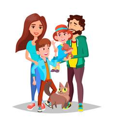 family dad mother kids happy portrait vector image