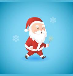 festive christmas funny santa claus with sparkler vector image