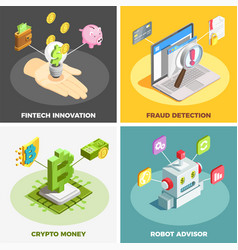 Financial technology 2x2 design concept vector