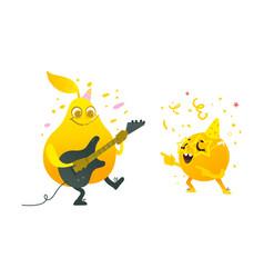 Flat fruit summer party character set vector