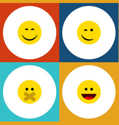 flat icon face set of laugh winking smile and vector image