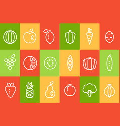 Fruits and vegetables icons set food signs line vector