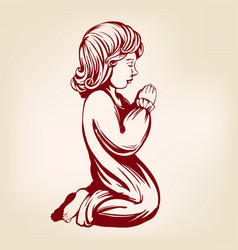Girl child praying on his knees religious symbol vector