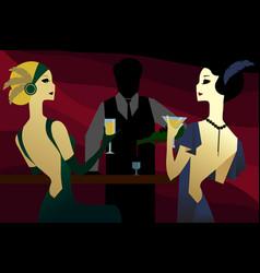 Girls in a 1920s noir bar vector