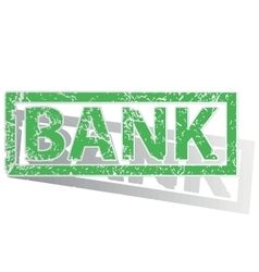 Green outlined BANK stamp vector image