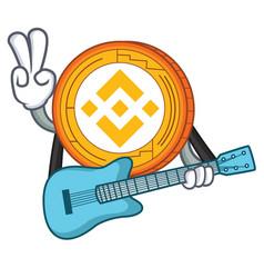 Guitar binance coin mascot catoon vector