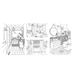 hand drawn modern bathroom and toilet interior vector image vector image