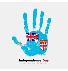 Handprint with the Flag of Fiji in grunge style vector