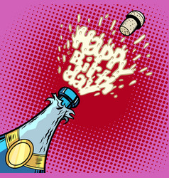 Happy birthday champagne bottle opens foam and vector
