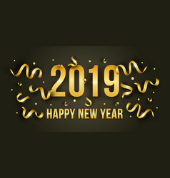 Happy new year with 2019 golden shiny numbers vector