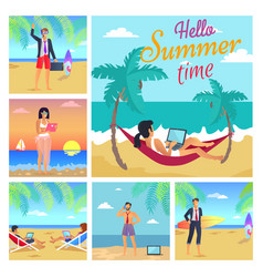 hello summer time colorful vector image