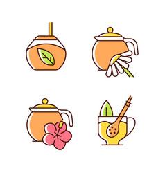 Herbal tea rgb color icons set vector