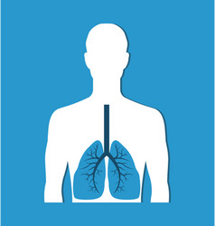 human lungs banner isolated on blue icon vector image