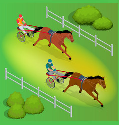 isometric jockey and horse two racing horses vector image