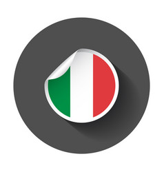 italy sticker with flag with long shadow vector image