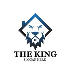 King lion construction logo designs vector