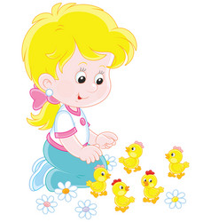 little girl and chicks vector image