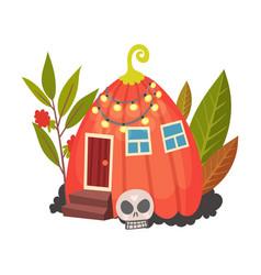 Little pumpkin house halloween object vector