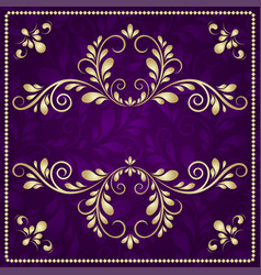 luxury gold pattern frame on purple background vector image