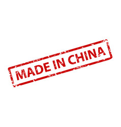 made in china stamp texture rubber cliche imprint vector image