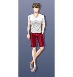 Man wearing shirt and shorts vector