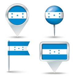 Map pins with flag of Honduras vector