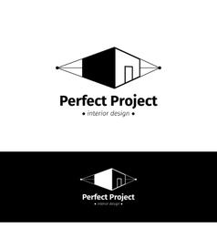 minimalistic house design logo Black and vector image