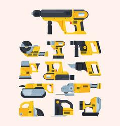 modern renovation power tools flat vector image