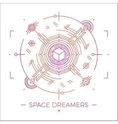 Modern thin line space dreamers vector
