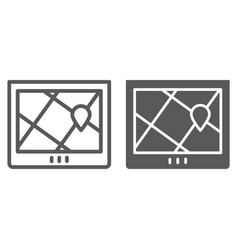 navigation line and glyph icon location and map vector image